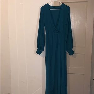 8e70e25c21 chic boho Dresses - V-neck Long Sleeves Belted Maxi Dress Teal GreenXL